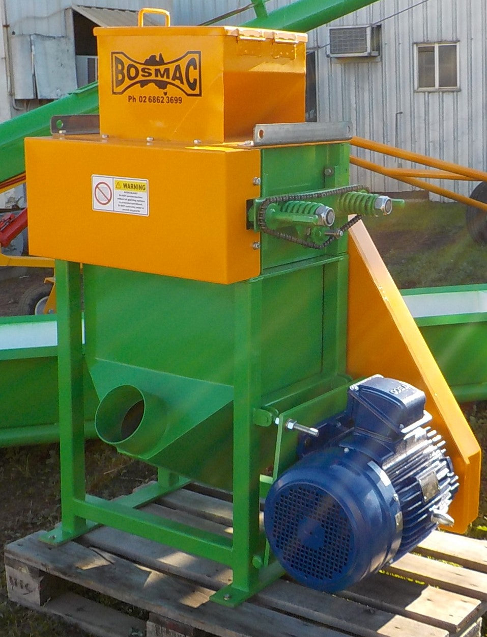 Roller Mill supplied with Stand and Hopper and Drive - 15kW 3 Phase Motor 9 tonne per hour