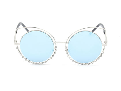 Round Cut Out Design Pearl Studded Sunglasses - Apex Urban Gear