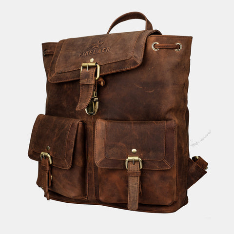 Vintage Brown Leather Backpack - Apex Urban Gear