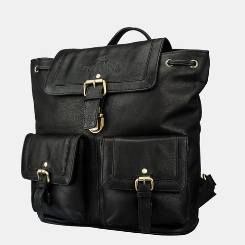 Vintage Black Leather Backpack - Apex Urban Gear