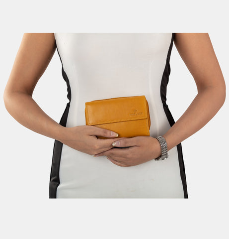 Finelaer Yellow Leather Clutch - Apex Urban Gear