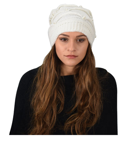 Knitted Hats With Faux Pearls - Apex Urban Gear