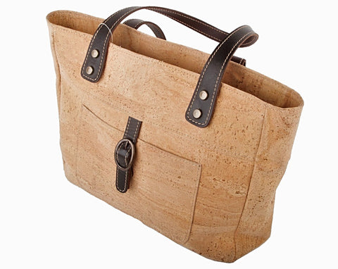 Cork Handbag with Leather Trim - Apex Urban Gear