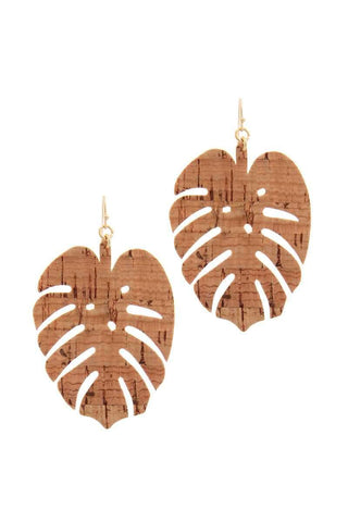 Tropical Leaf Cork Earrings - Apex Urban Gear