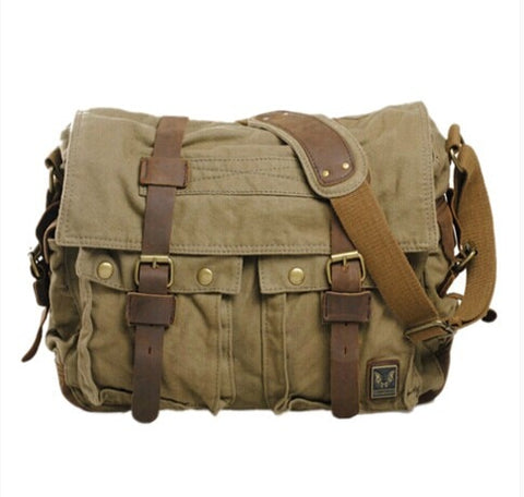 Canvas Leather Messenger Bag - Apex Urban Gear
