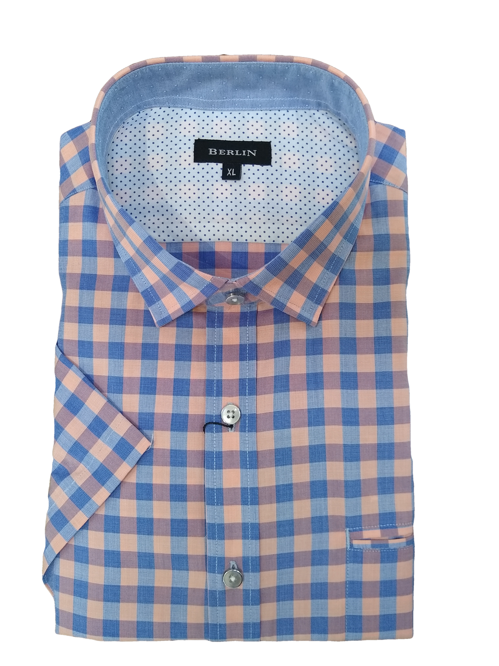Berlin Coral Check Print SS Shirt