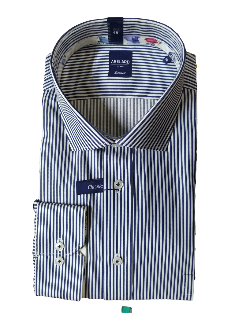 Abelard Navy Striped LS Shirt