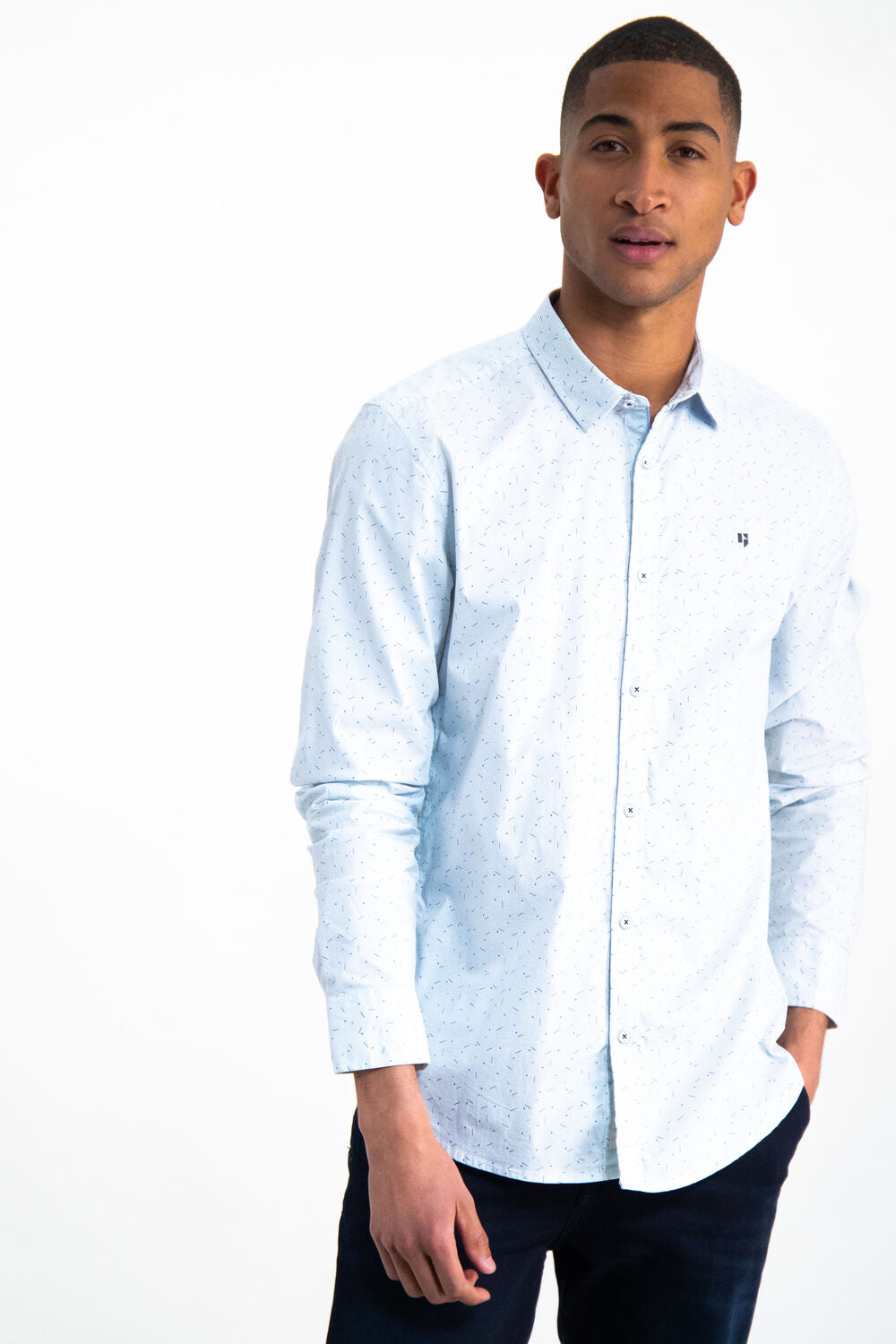 Garcia LS Casual Stretch Pale blue Shirt