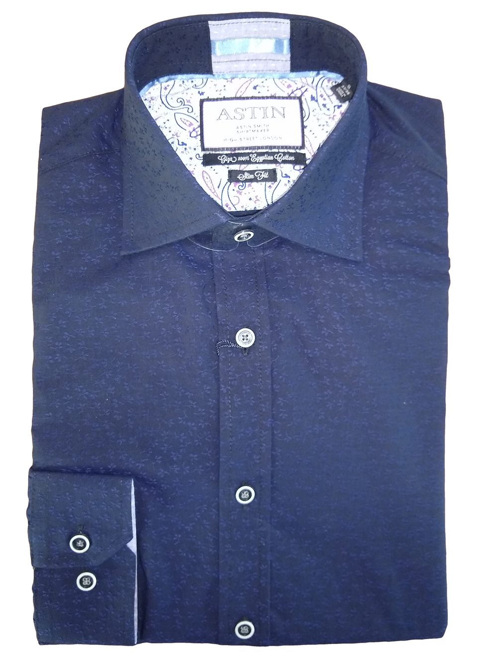Astin Smith Navy Jacquard LS Shirt