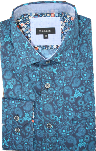 Berlin Teal Paisley LS Shirt