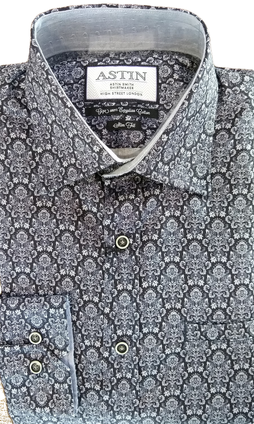 Astin Smith LS Black floral shirt