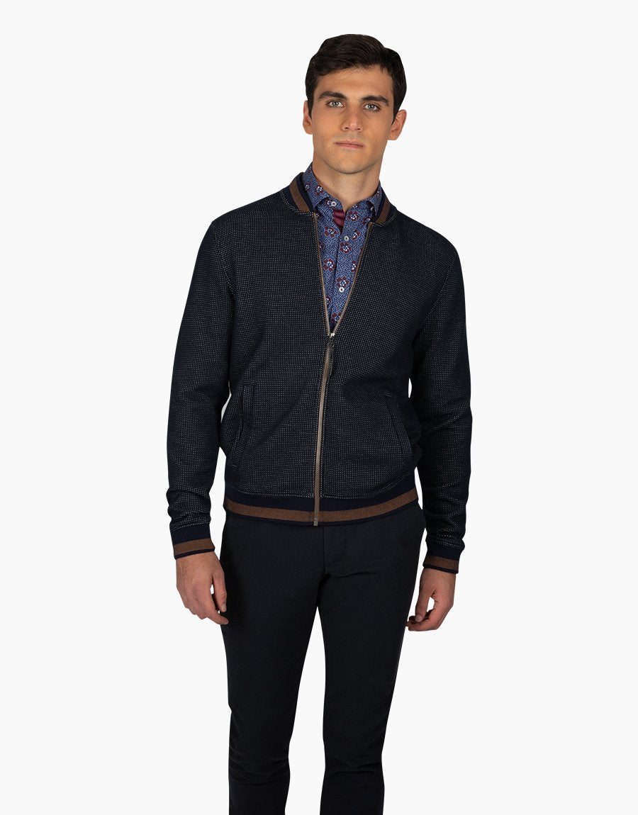 Rembrandt Domino Navy Knit Bomber Jacket