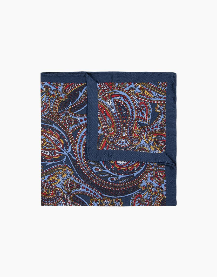 Rembrandt Navy Paisley Pocket Square