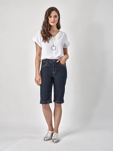 Vassalli Denim Short with Contrast Stitching