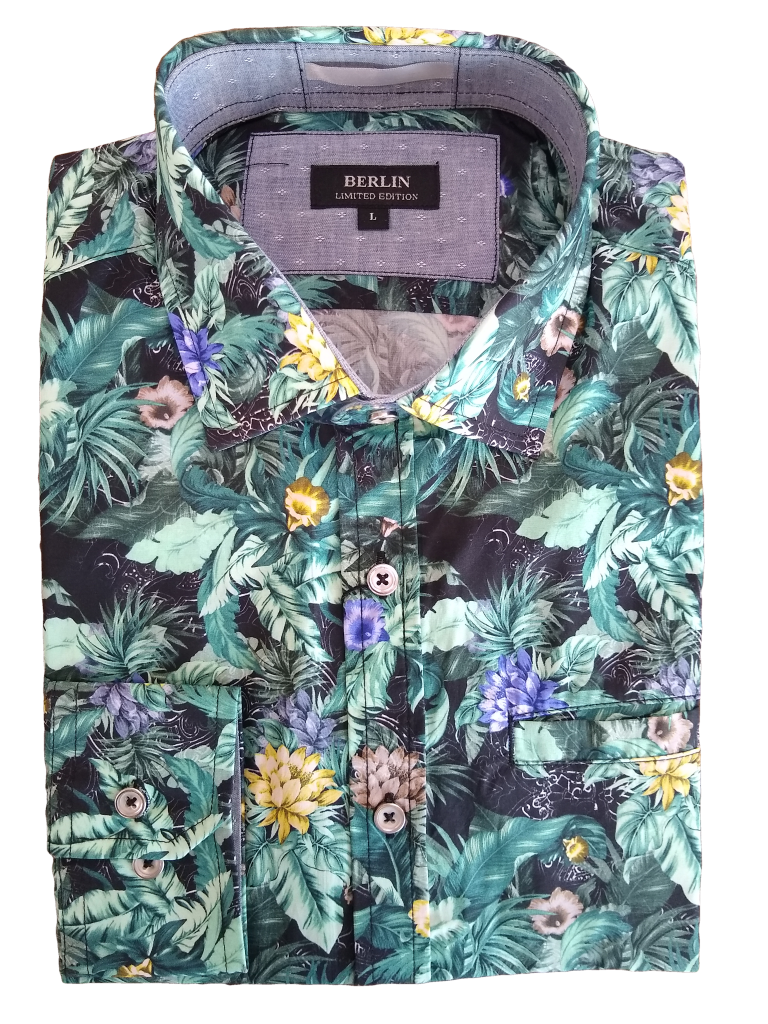 Berlin Long Sleeve tropical floral print shirt