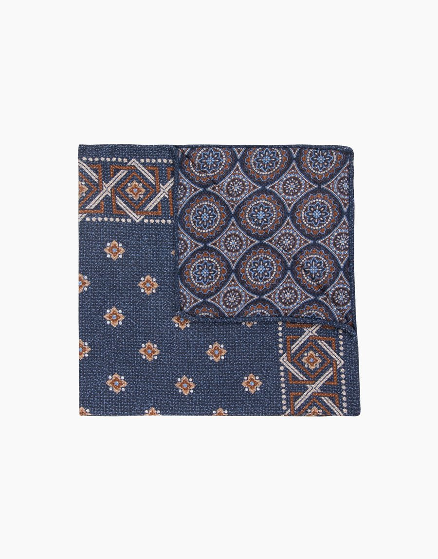 Rembrandt Denim Blue Paisley/ Geometric Pocket Square