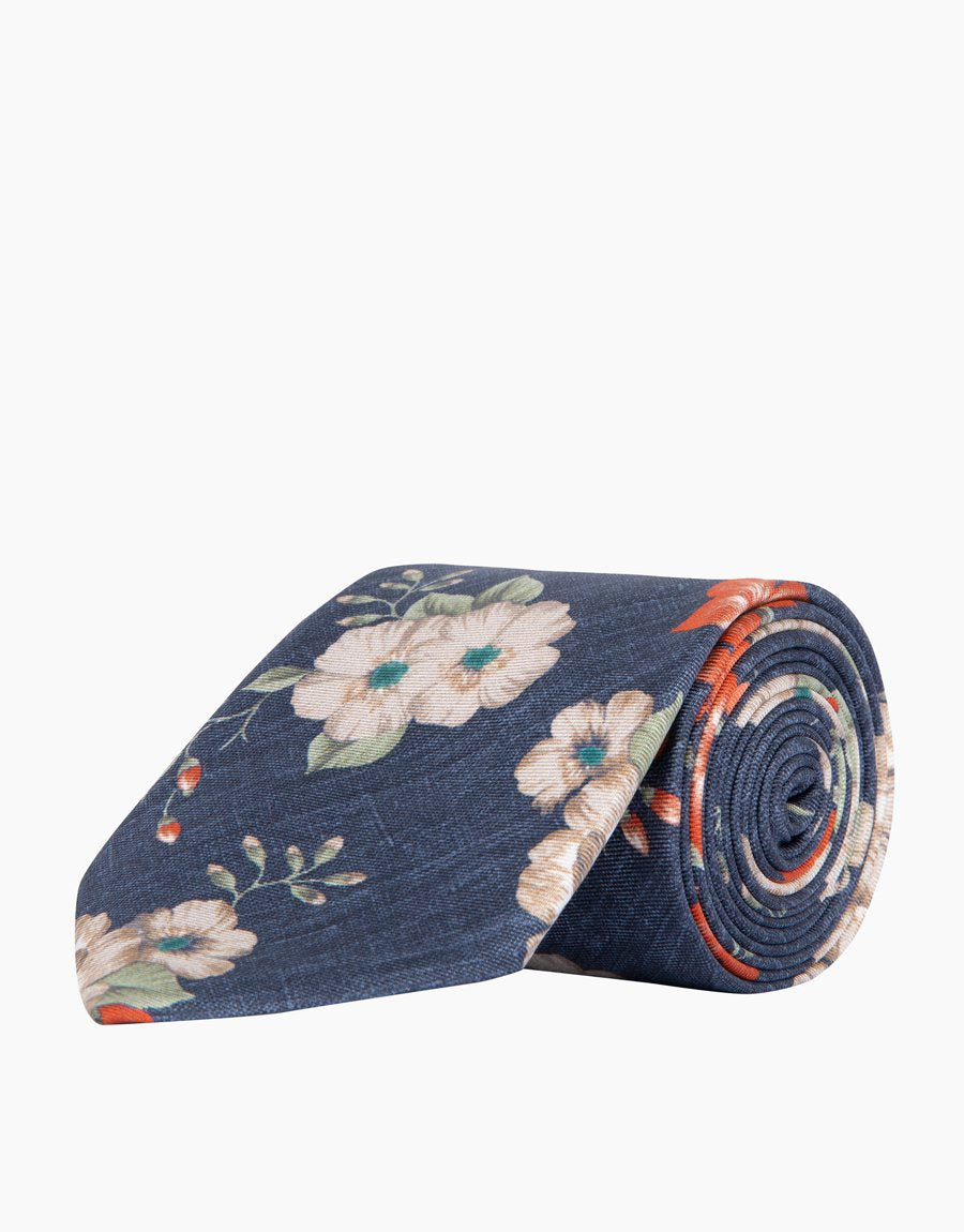 Rembrandt Charcoal Floral Silk Tie
