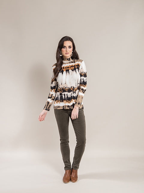 Vassalli Desert Long Sleeve Top with High Neck - 4344