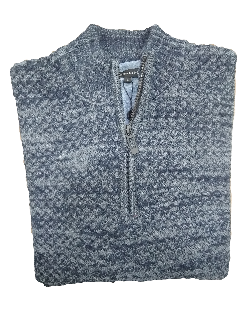 Berlin 1/4 Zip Basketweave Jumper Slate K301