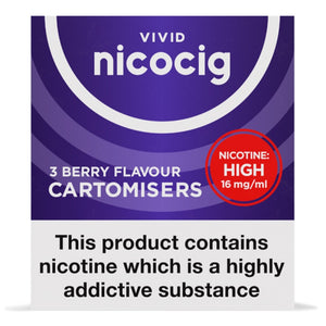 Nicocig (Nicolites) Electronic Cigarette High Strength Berry Refill Cartridges Pack of 3