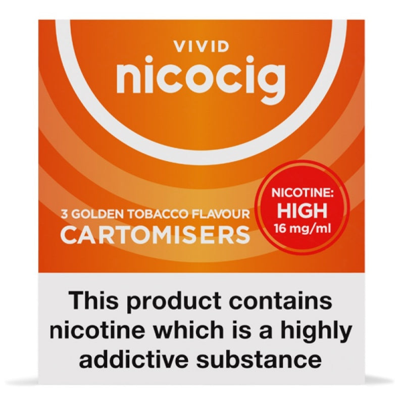 Nicocig (Nicolites) Electronic Cigarette High Strength Golden Refill Cartridges Pack of 3