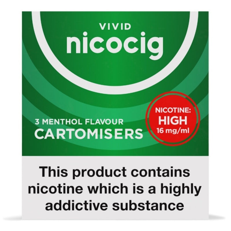 Nicocig Electronic Cigarette High Strength Menthol Refill Cartridges Pack of 3 X 20 (1 Pack Free)