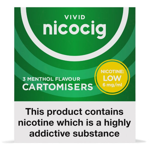 Nicocig Electronic Cigarette Low Strength Menthol Refill Cartridges Pack of 3 X 20 (1 Free Pack)
