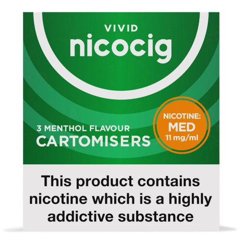 Nicocig (Nicolites) Electronic Cigarette Medium Strength Menthol Refill Cartridges Pack of 3 X 10