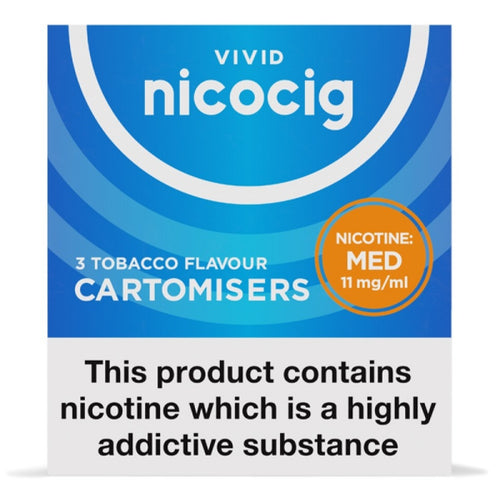 Nicocig (Nicolites) Electronic Cigarette Medium Strength Tobacco Refill Cartridges Pack of 3