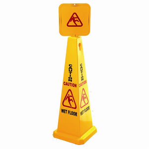 "Caution Sign Cone - ""Caution Wet Floor"" 1.2m height"