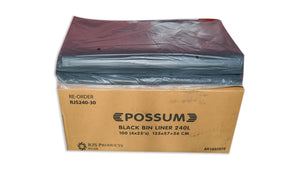 Possum HD B/Liner 240L Black 100pc
