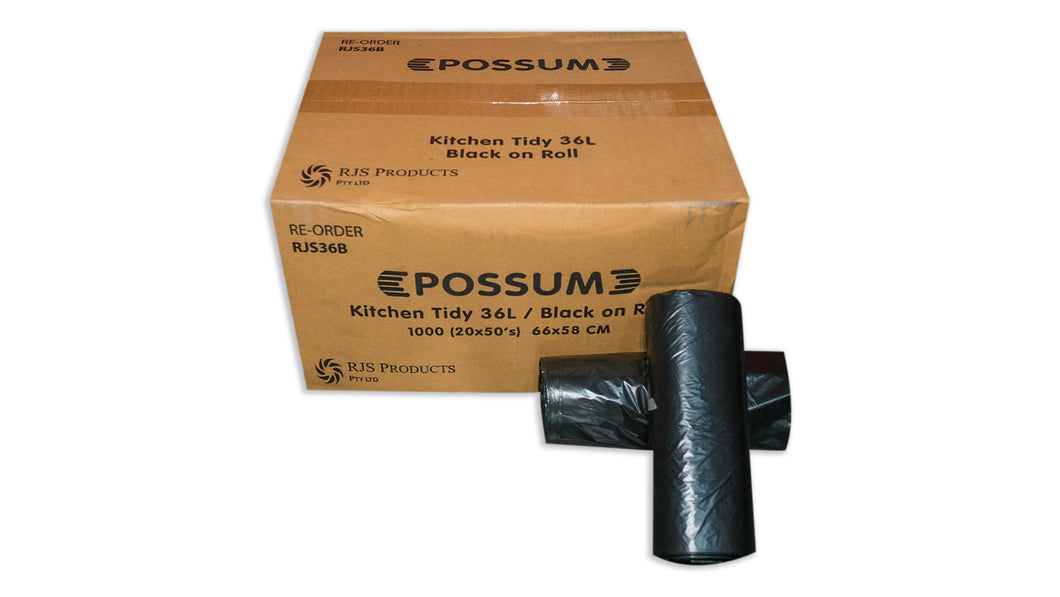 Possum Black 36L Tidy Bag Roll 50x20pc