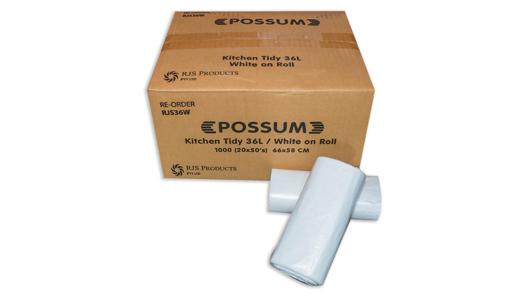 Possum White 36L Tidy Bag Roll 50x20pc