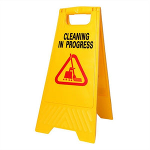 Caution Sign - wet floor cleaning in progress Yellow