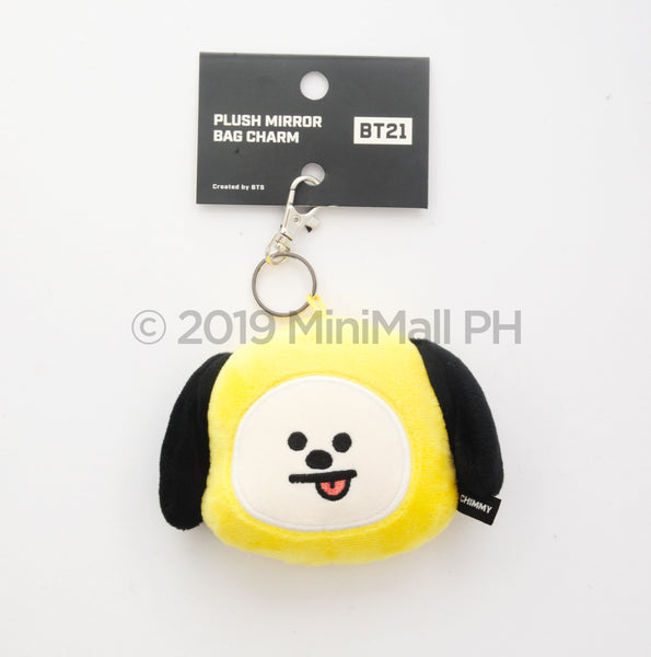 BT21 PLUSH MIRROR BAG CHARM / MIRROR FACE DOLL KEY RING