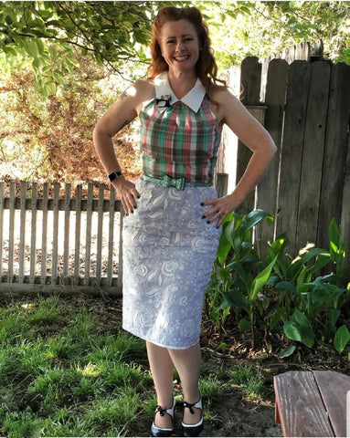 Carrie Hughes wearing a one-of-a-kind dress by Hollyville