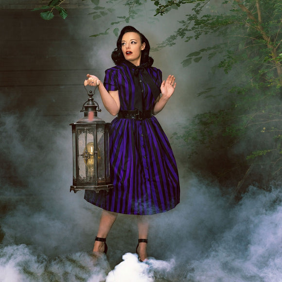 1950's Style Purple & Black Striped Swing Dress