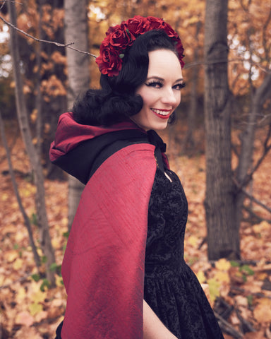 Dark Pinup fantasy Little Red Riding Hood dress and cape by PMdesigns by Pamela Marie available at Hollyville