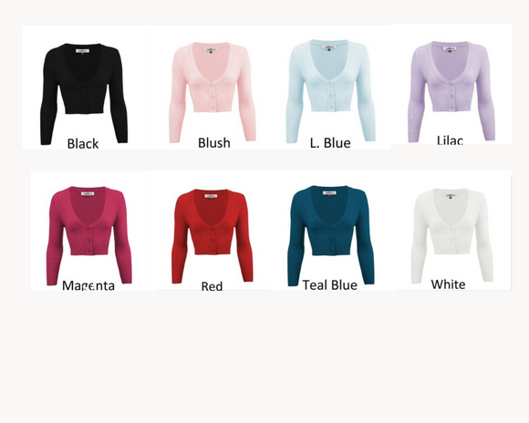 Women's Cropped Bolero 3/4 Sleeve Cardigan Sweater - Select your color