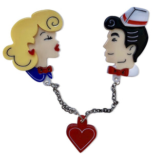 Belle & Beau Kiss Brooch by Lipstick & Chrome