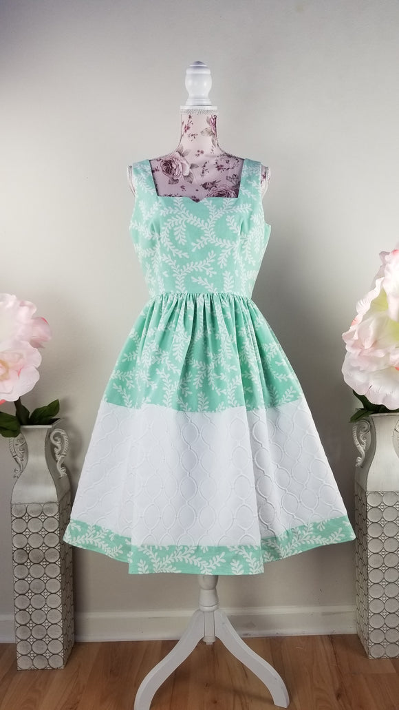 Seafoam Green & White Dress by PMdesigns by Pamela Marie Medium