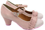 Rose Pink Suede Ruffled Shoes by Cristófoli