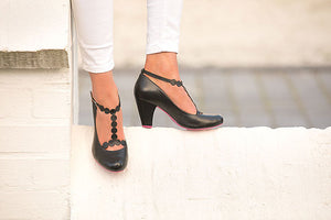 Black T-strap Shoes by Cristófoli