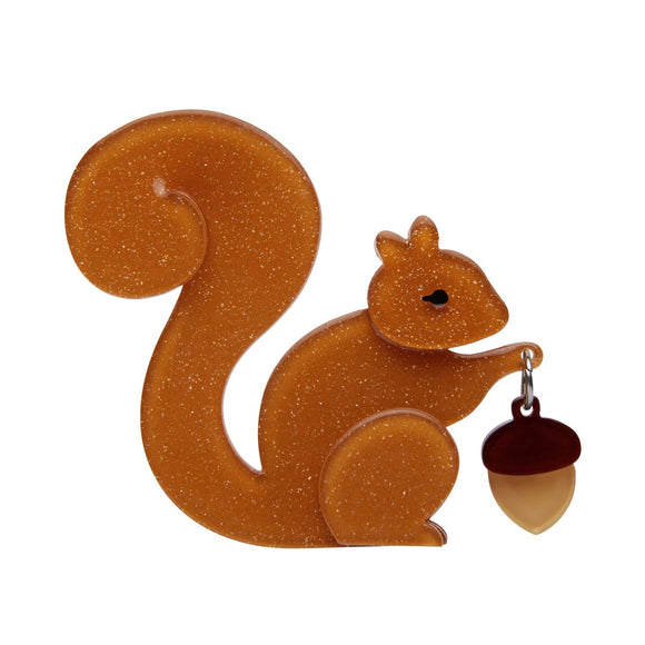 The Satisfied Squirrel Brooch by Erstwilder