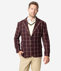 Burgundy John Check Men's Blazer by Collectif