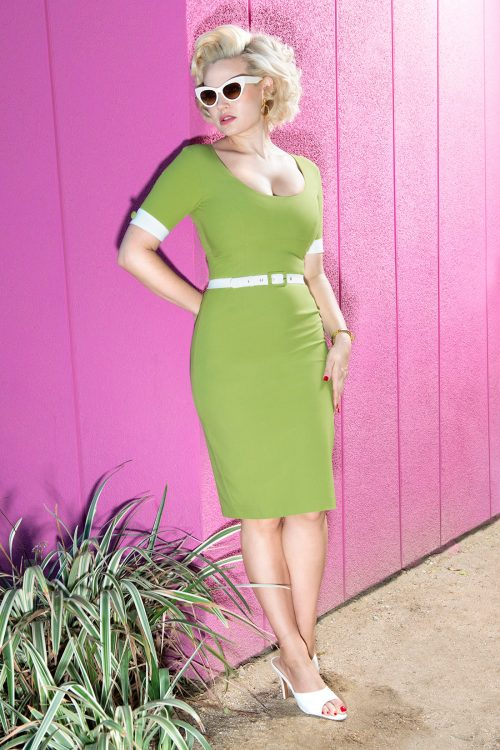 50's Annie Pencil Dress in Green by Glamour Bunny