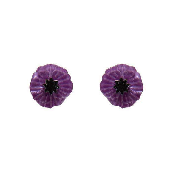 Poppy Field Earrings in Purple by Erstwilder
