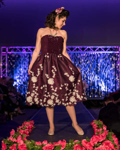 Purple Sequin with White Flower Evening Dress by PMdesigns by Pamela Marie Medium
