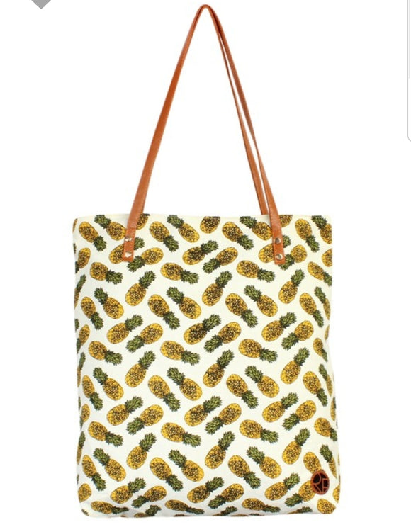 Pineapple Print Tote Bag