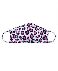 Leopard Print Face mask in Fuchsia